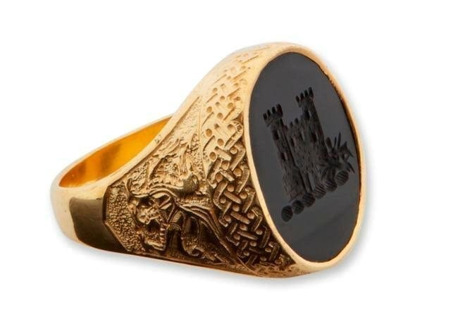 CFeltic ring with Scottish castle and Welsh dragons