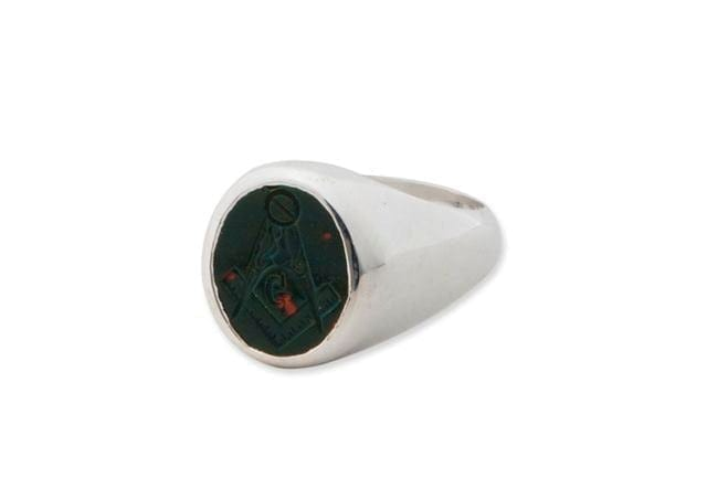 Masonic Ring Hand Engraved Natural Bloodstone Set Square Sterling Silver 925