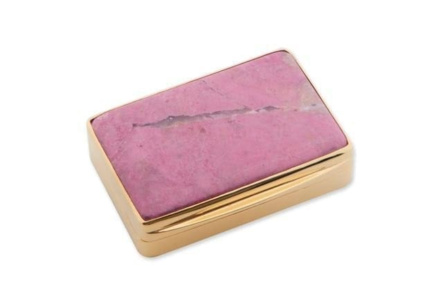 Rhodonite Snuffbox Unique Gold Plated Sterling Silver 925