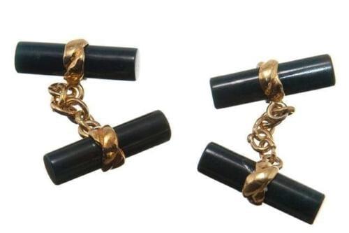 Black jade cylinder cuff links