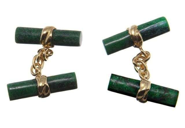 Jade Cufflinks Imperial Doubles Gold Plated Sterling Silver 925