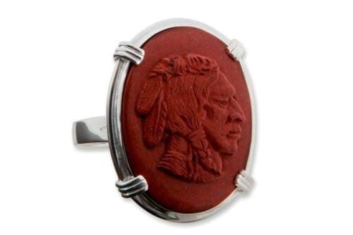 Red Jasper American Indian Chief Ring - Sterling Silver