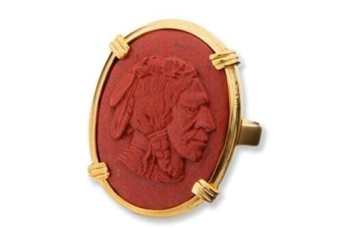 Red Jasper American Indian Ring - Gold Plated Sterling Silver