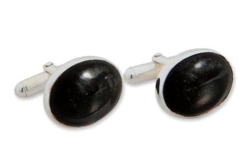 Black Onyx Cufflinks Mini Cabochon - Silver