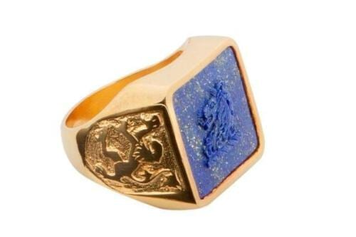 Square Lapis Lion Ring - Family Crest - Gold Plated Sterling Silver
