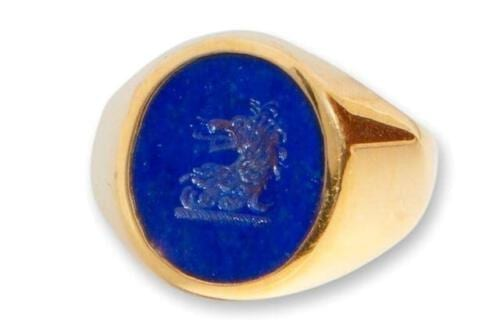 Lapis Ring Lion Family Crest - Gold Plated Sterling Silver