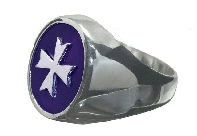 Amethyst Mans Ring Maltese Cross Sterling Silver 925