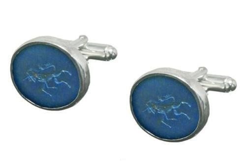 Lapis Heraldic Unicorn Cufflinks - Sterling Silver