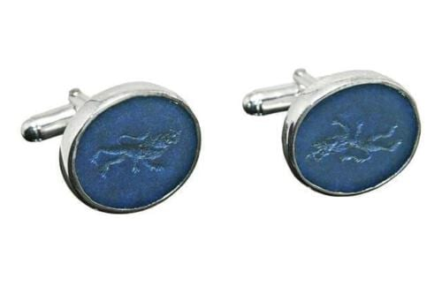 Lapis Cufflinks - Heraldic Royal Lion - Sterling Silver 925