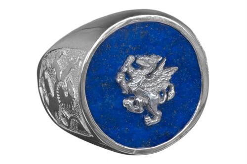 Lapis Griffin Ring - Overlaid Design - Sterling Silver 925