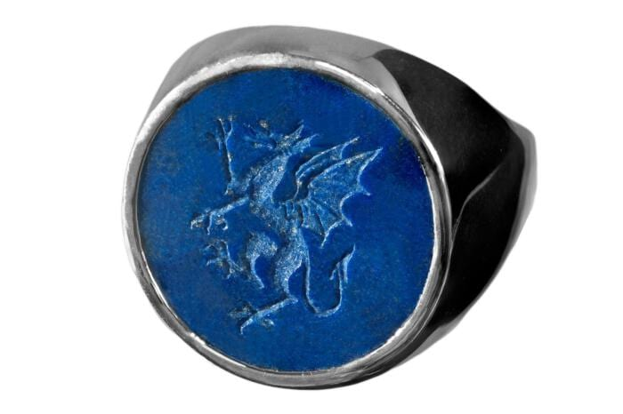 Celtic Ring Engraved Lapis With Welsh Dragon Impressive Fine Regnas Intaglio In Sterling Silver 925