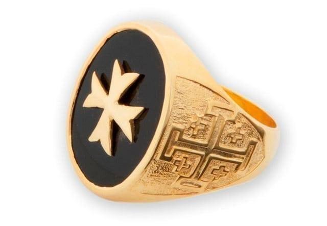 Maltese Cross Ring Onyx Genuine Gemstone Regnas Gold Plated Sterling Silver 925