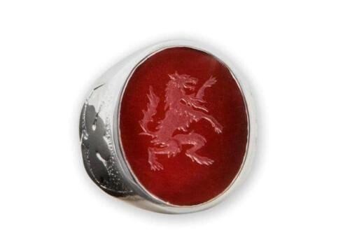 Red Agate Wolf Ring