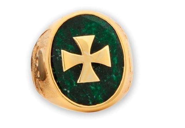 Jade Ring Templar Cross Overlaid Gold Plated Sterling Silver 925