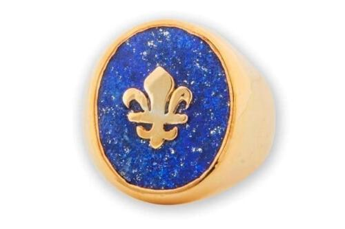 Lapis Ring - Fleur De Lys Overlaid - Gold Plated Sterling Silver