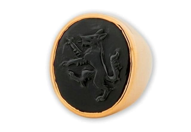 Black Onyx Wolf Ring