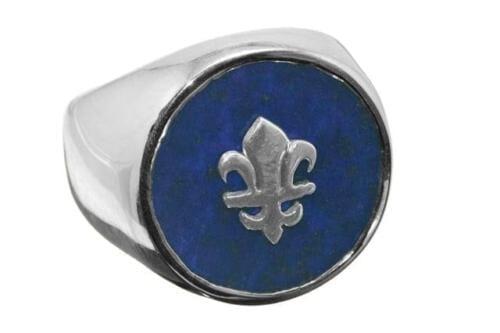 Lapis Ring - Fleur De Lys Overlaid - Sterling Silver
