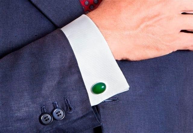 Jade Cufflinks Oval Swivels Sterling Silver 925