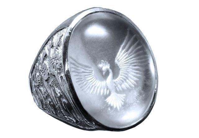 Rock Crystal Ring Phoenix Rising Handmade in Sterling Silver 925