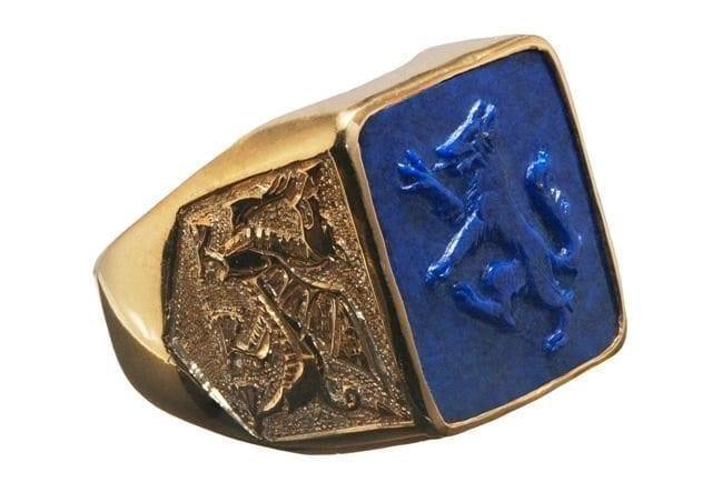 square lapis wolf ring