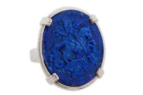 Lapis Saint George & The Dragon Ring - Roman Style - Sterling Silver 925