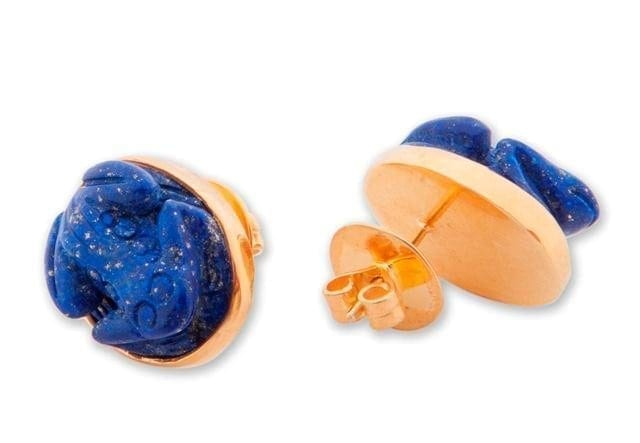 Lapis Earrings Hand Carved Freddy Frog Choice Stud Earrings Gold Plated Sterling Silver 925