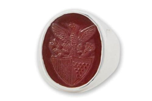 Red Agate - US Eagle Shield Ring