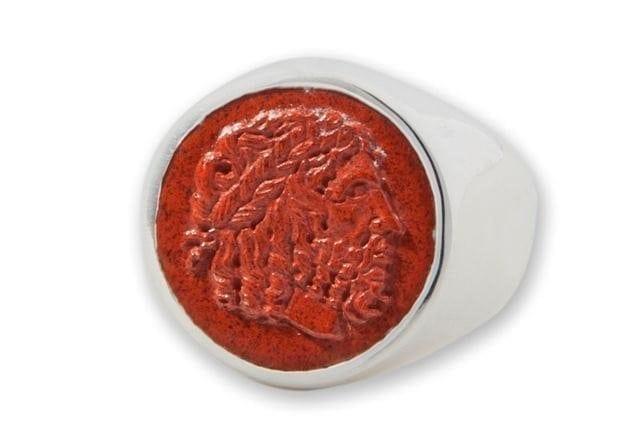 Greek God Ring Zeus Hand Carved Red Jasper Gemstone Sterling Silver 925