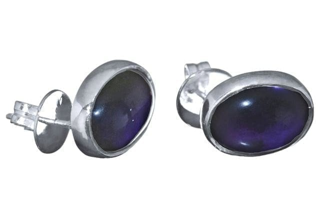 Amethyst Earrings Hand Carved Cabochon Stud Regnas Sterling Silver 925