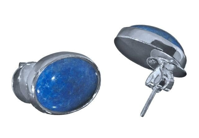 Lapis Earrings Hand Carved Cabochon Stud sterling Silver Regnas