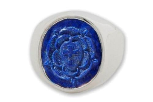 Lapis Rosicrucian Ring - Sterling Silver