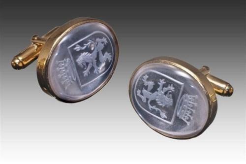 Rock Crystal heraldic lion cuff links