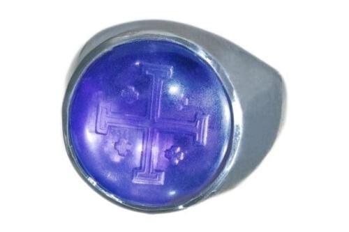 Amethyst Ring Jerusalem Cross Sub Engraved - 982