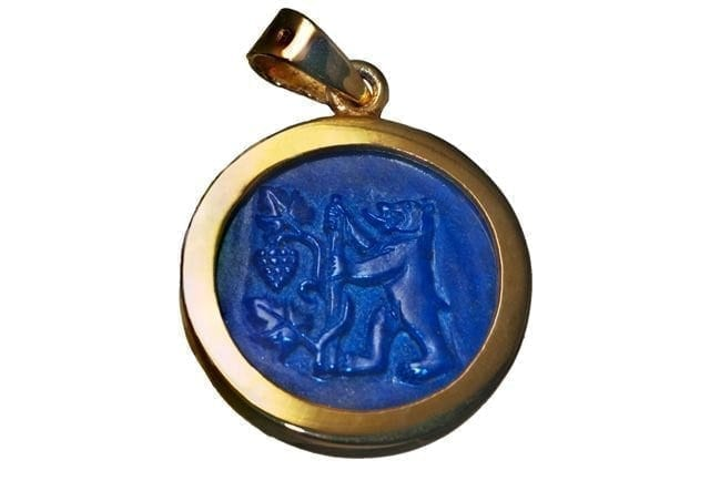 Lapis Pendant Fine Hand Carved Bear And Grapes Gold Plated Sterling Silver 925