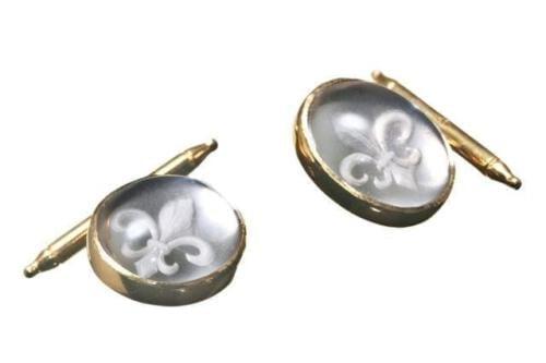 Sub Engraved Fleur-de-Lys Rock Crystal Cufflinks