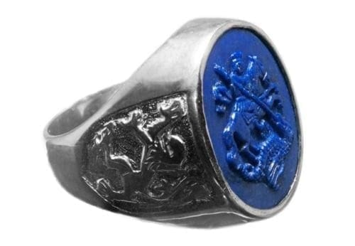 Lapis Mans Ring Engraved Saint George and Dragon Sterling Silver 925
