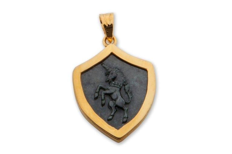 Jade Pendant Unicorn Hand Carved Regnas Gold Plated Sterling Silver 925