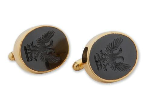 Black Onyx Crest Cufflinks