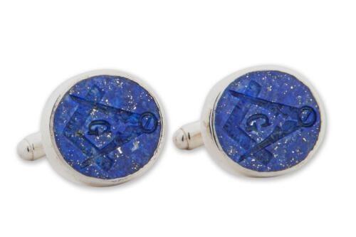 Lapis Masonic Cufflinks - Set Square Compass - Sterling Silver