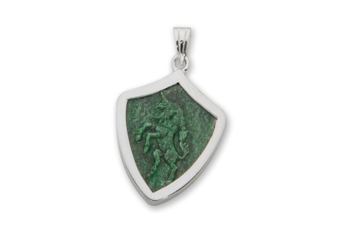 Unicorn Pendant Hand Carved Jade Regnas Sterling Silver 925
