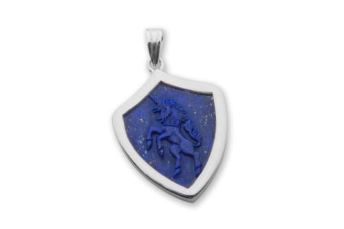 Lapis Shield Shape Unicorn Pendant - Sterling Silver