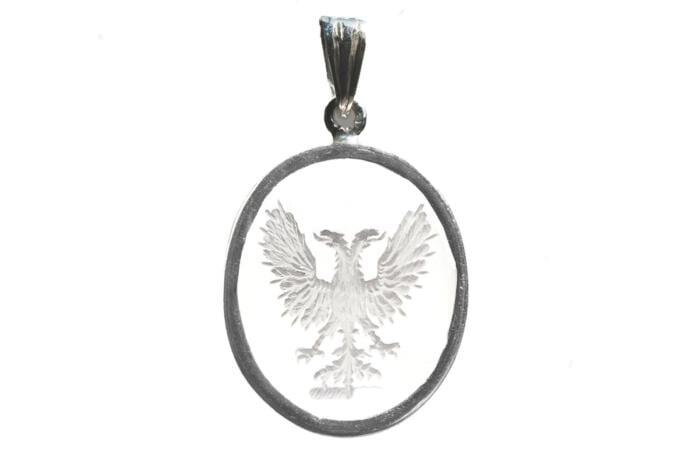 Crystal  Eagle Pendant Heraldic Hand Engraved Genuine Gemstone Sterling Silver 925