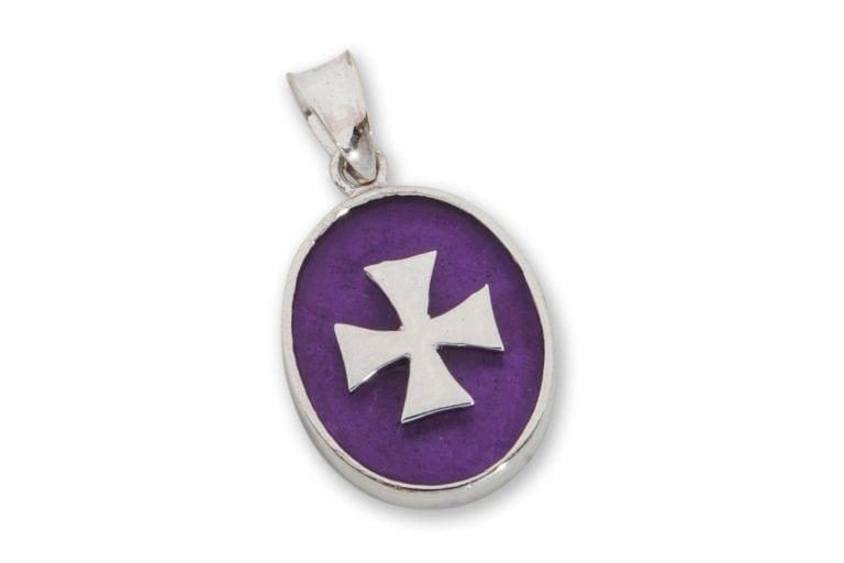 Templar Cross Pendant Synthetic Amethyst Sterling Silver 925