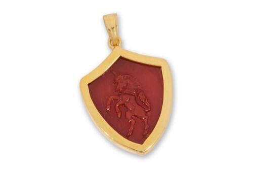 Red agate unicorn pendant