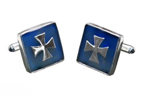 Square Lapis Templar Cross Cufflinks - Sterling Silver