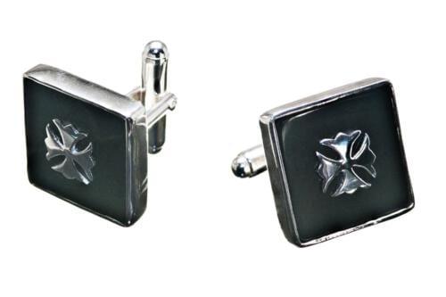 Black Onyx Cross Fleuri Cufflinks silver