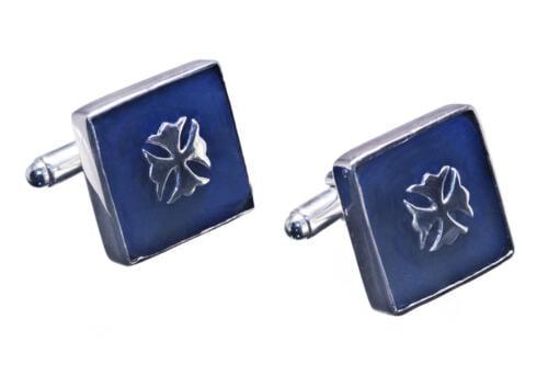 Lapis Cross Fleuri Cufflinks - Heraldic - Sterling Silver