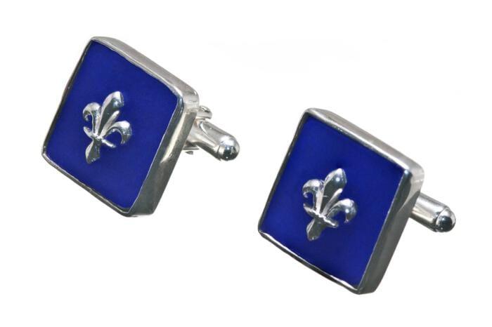 Fleur De Lys Lapis Cufflinks Heraldic Genuine Gemstone Sterling Silver 925