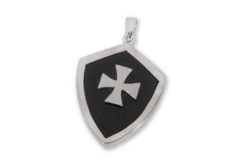 Sterling Sliver Black Onyx Templar Cross Pendant