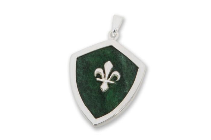 Jade Pendant Heraldic Fleur De Lys Over Laid Genuine Gemstone Sterling Silver 925